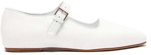 Ava Square Toe Leather Mary Jane Flats - Womens - White