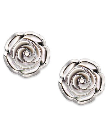 Macy's Sterling Silver Earrings, Cultured Tahitian Mother of Pearl Flower Stud Earrings (18mm)