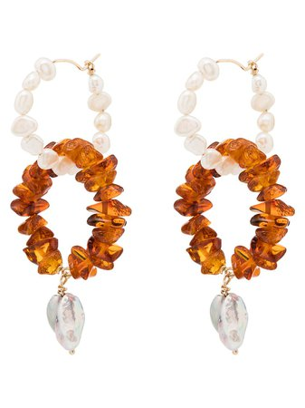 Holly Ryan 9Kt Yellow Gold Amber And Pearl Hoop Earrings Ss20 | Farfetch.com