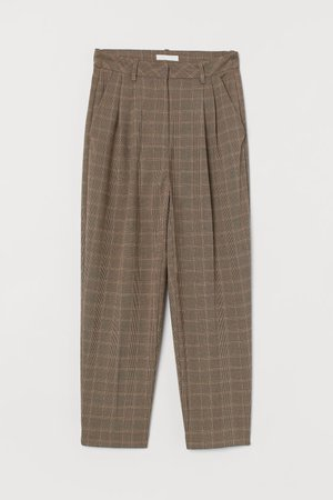 Ankle-length Pants - Light beige/checked - Ladies   H&M US