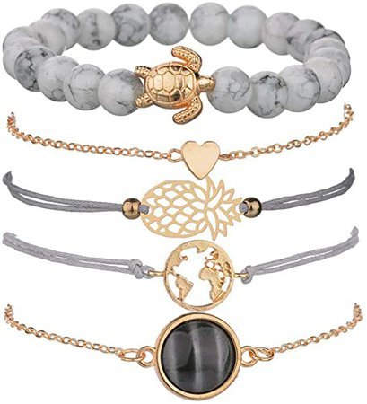 Amazon.com: VONRU Beaded Bracelets for Women - Adjustable Charm Pendent Stack Bracelets for Women Girl Friendship Gift Rose Quartz Bracelet Links with Pearl Gold Plated 5pcs/Set (Stone & Turtle Bracelet): Jewelry