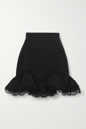 Ruffled Lace-trimmed Wool-blend Mini Skirt - Black