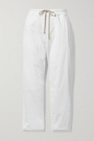 Casablanca Cropped Cotton-blend Twill Pants - White