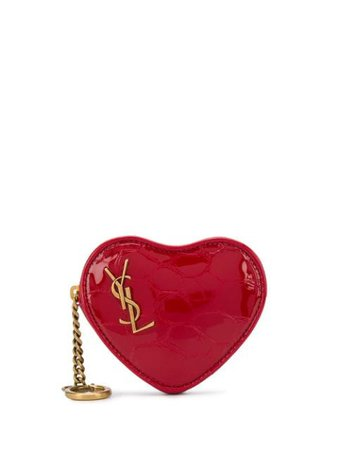 Saint Laurent Crocodile-Embossed Heart-Shaped Coin Purse 54617800X0W Red | Farfetch