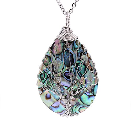 Amazon.com: Wire Wrapped Abalone Teardrop Necklace - Handmade Silver Abalone Shell Water Drop Tree of Life Pendent Jewelry for Women: Clothing