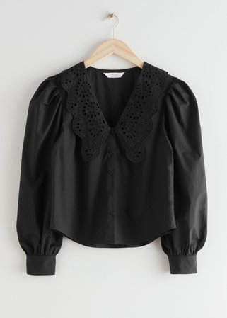 Embroidered Collar Puff Sleeve Cotton Blouse - Black - Blouses - & Other Stories