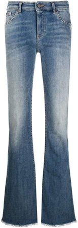 frayed-hem mid-rise flared jeans