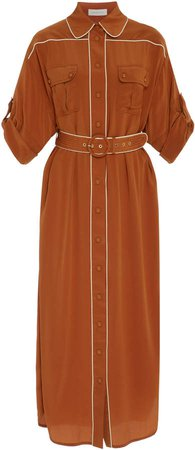 Belted Two-Tone Washed Silk Midi Dress
