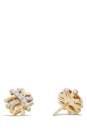 David Yurman Crossover Stud Earrings with Diamonds in 18k Gold | Nordstrom