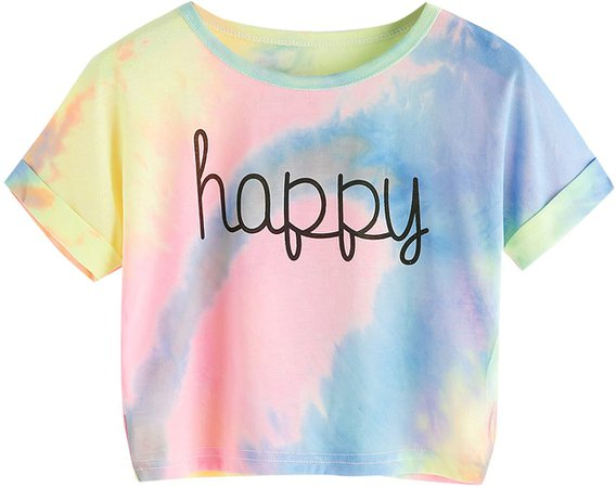 SweatyRocks Womens Tie Dye Letter Print Crop Top T Shirt, Muiticolor 1, Small =XS at Amazon Women's Clothing store