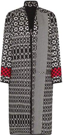 oversized mixed pattern long coat
