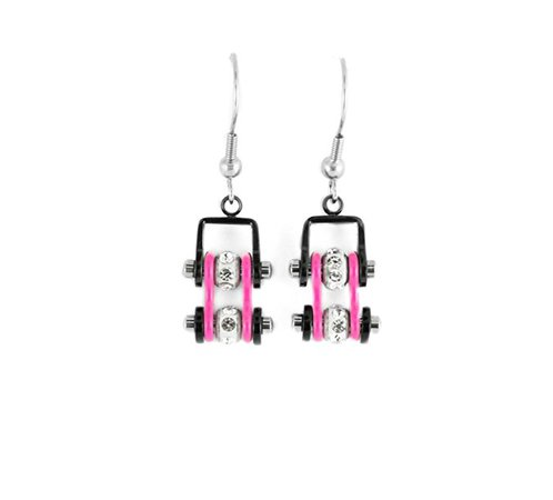 Amazon.com: MINI Two Tone Black Pink With Crystal Centers Bike Chain Earrings Motorcycle Biker Jewelry: Clothing