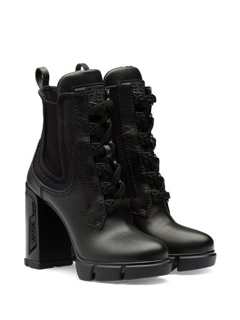 Black Prada Chunky Heeled Ankle Boots For Women | Farfetch.com