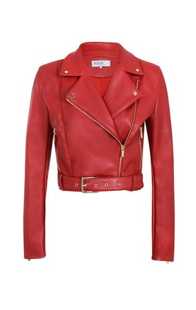 Clothing : Jackets : 'Zulai' Red Vegan Leather Cropped Biker Jacket