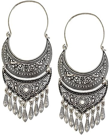 Amazon.com: MonkeyJack Retro Tibetan Silver/Gold Hoop Earrings Ethnic Tribal Boho Dangle Earrings - Silver: Jewelry