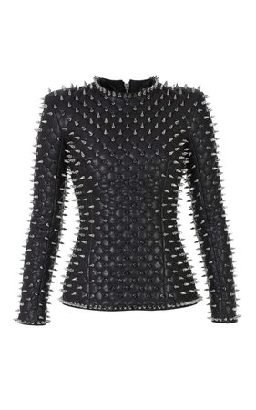 Balmain Leather Quilted Spike Top