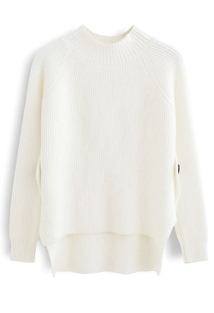 Button Side Hi-Lo Knit Sweater in Ivory - Retro, Indie and Unique Fashion