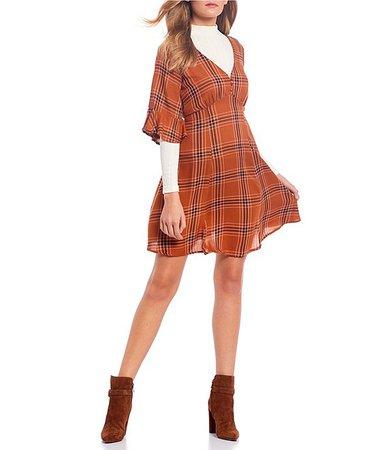 Coco + Jaimeson Mock-Neck Plaid Long Sleeve Dress Set | Dillard's