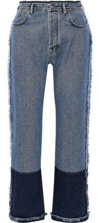 Myrja Frayed Two-tone High-rise Straight-leg Jeans