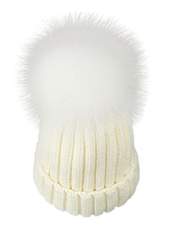LITHER Winter Knit Hat With Real Fox Fur Pom-Pom