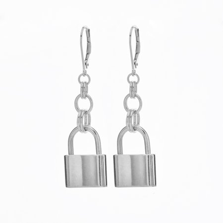 silver lock earrings