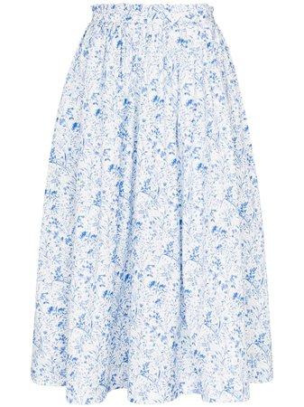 ANOUKI Floral Print Gathered Midi Skirt - Farfetch