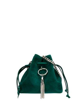 Jimmy Choo Callie Drawstring Bucket Bag CALLIEDRAWSTRINGSSUE Green | Farfetch