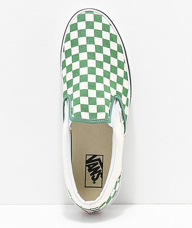 Vans Slip-On Green & White Checkerboard Skate Shoes   Zumiez