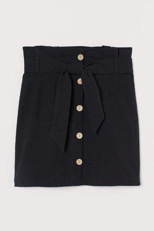 Creped Paper-bag Skirt - Black