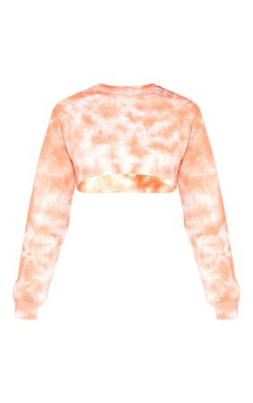 Tall Orange Tie Dye Extreme Cropped Sweater   PrettyLittleThing USA