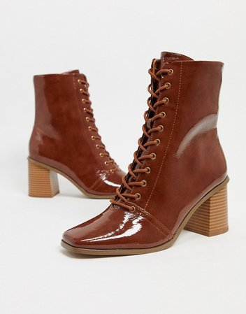 ASOS DESIGN Rylee square toe lace up boots in tan patent | ASOS