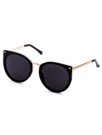 Black Metal Trim Cat Eye Sunglasses