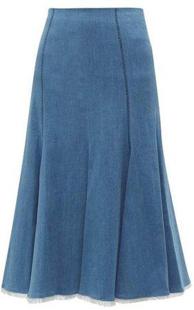 Amy Fluted Denim Midi Skirt - Womens - Denim