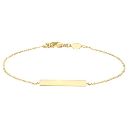 IBB Personalised 9ct Gold Bar Initial Chain Bracelet