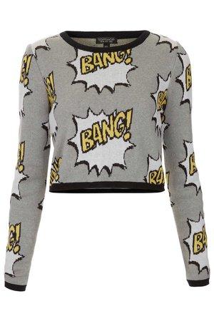 TOPSHOP Knitted Bang Motif Crop Jumper in Gray