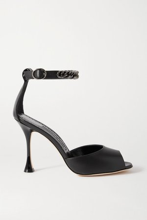 Fombra Chain-embellished Leather Sandals - Black