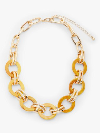 John Lewis & Partners Statement Resin Link Short Necklace, Yellow/Gold at John Lewis & Partners