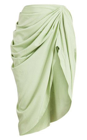 Sage Ruched Side Midi Skirt   Skirts   PrettyLittleThing USA