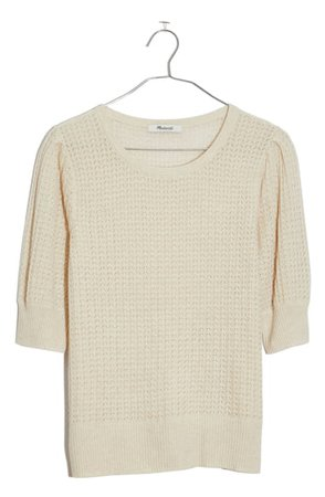 Madewell Pointelle Puff Sleeve Sweater | Nordstrom