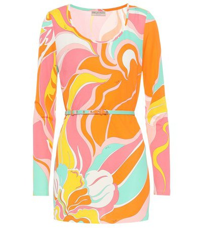 Printed silk-blend jersey top