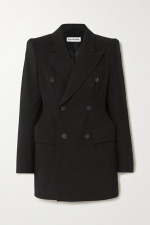 Balenciaga | Hourglass double-breasted wool-twill blazer | NET-A-PORTER.COM