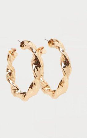 Gold Chunky Twist Hoop Earrings | Accessories | PrettyLittleThing