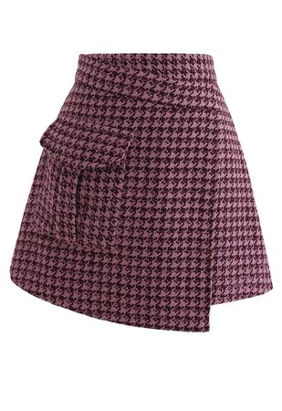 Houndstooth Tweed Asymmetric Mini Skirt in Hot Pink - Retro, Indie and Unique Fashion