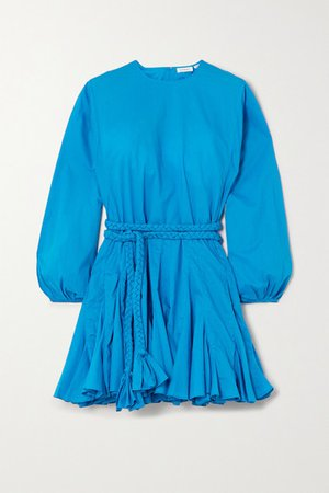 Ella Belted Pleated Cotton Mini Dress - Blue