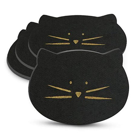Koolkatkoo Cat Lover Gifts Felt Absorbent Gold Cat Face Mug Coasters Set for Drinks Cute Cup Coaster for Table 4 Pieces Black: Amazon.ca: Home & Kitchen