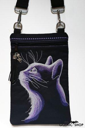 Purple Cat Embroidered Mini iPad Gothic Bag   Gothic