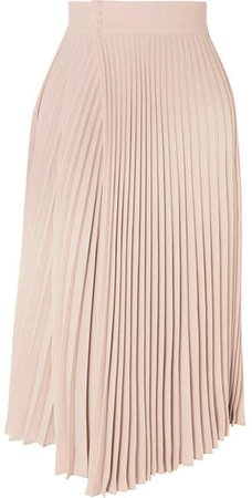 Pleated Wrap-effect Crepe De Chine Midi Skirt - Beige