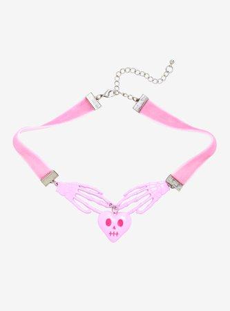Pink Skeleton Hands Choker