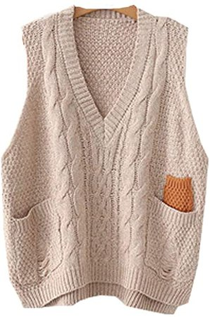 Minibee Women's V-Neck Knitted Sweaters Vests Sleeveless Casual Pullover Top Beige at Amazon Women's Clothing store