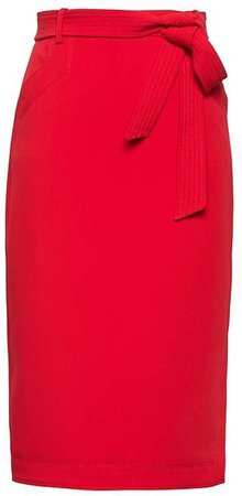 Belted Pencil Skirt with Side Slit